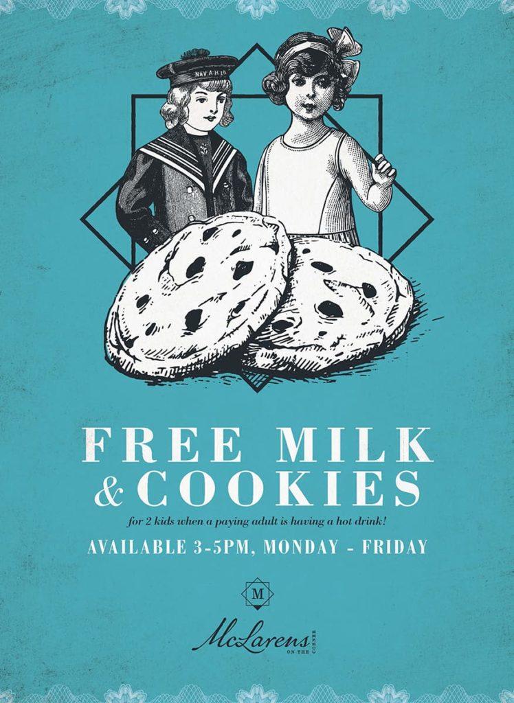 Free Milk and Cookies at Family-Friendly Edinburgh Restaurant McLarens on the Corner